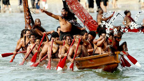 Traditional Maori war canoe