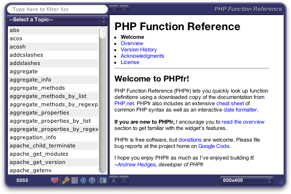 PHPfr: front of interface